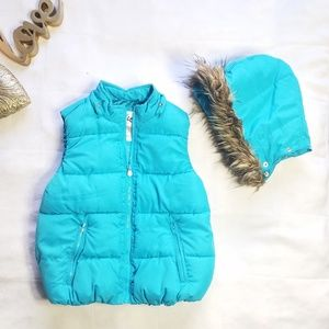 Justice Girls Puffer Vest Faux Fur Hood Blue 10